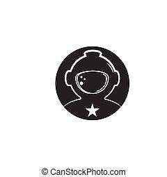 astronaut, abbildung, ikone, vektor