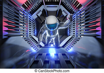 astronaut, zukunftsidee, tunnel