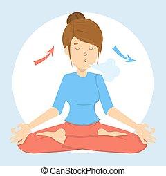 Atemübung für gute Entspannung. Ein- und ausatmen