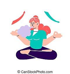 atem, atmen, heraus, relax., guten, tief, atmen, relaxation., übung