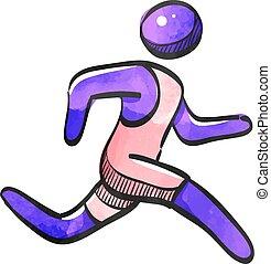 athlet, aquarell, stil, ikone, rennender