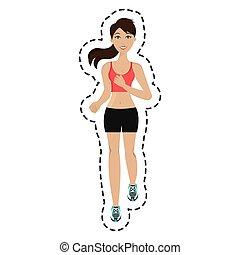 Athlet mit isolierter Ikone.