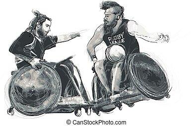 athleten, erwerbsunfähigkeit, -, rugby, physisch