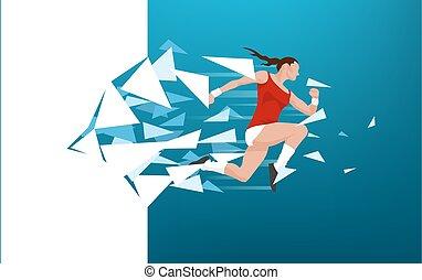 Athletische Frau bricht durch die Wand.