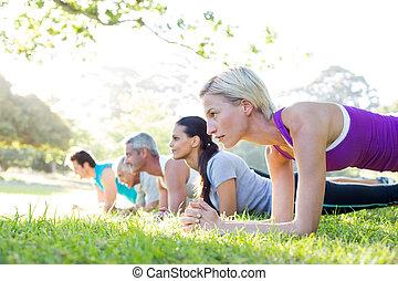 athletische, glücklich, training, gruppe