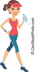 athletische, m�dchen, rennender