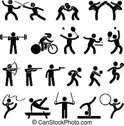 athletische, spiel, innen, sport, ikone