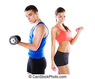 Athletischer Mann und Frau.