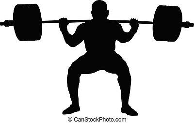 Athletischer Powerlifter mit Glocke
