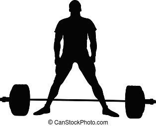 Athletischer Powerlifter stehen vor dem Training tot.