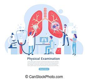 atmungs, behandlung, prüfung, system, physisch, illustration., vektor