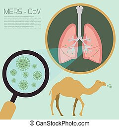 atmungs, syndrom, übertragung, krankheit, diagramm, mitte, vektor, osten