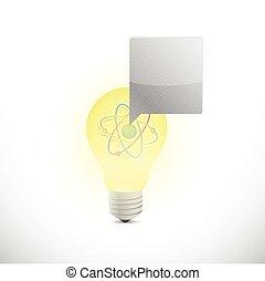 Atom Glühbirne Illustration Design.