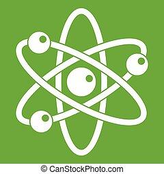 Atom mit Elektronen Ikonen grün