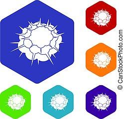 Atomische Explosionssymbole setzen Hexagon.