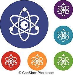 Atommodell-Icons eingestellt.