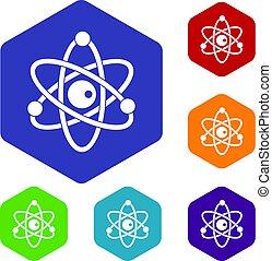 Atommodell Icons setzen hexagon.