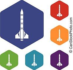 Atomraketen-Icons eingestellt.