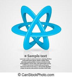Atomsymbol auf weißem Hintergrund