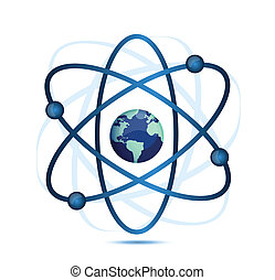 Atomsymbol mit einem Globus