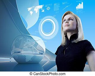 Attraktive Blondine mit Interface in Zukunft