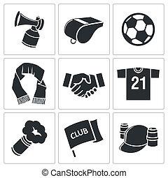 Attribute Fußball Fan Icon Set.