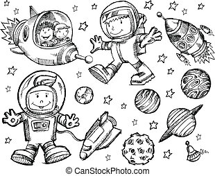 Außen-Raum-Sketch-Doodle-Vektor