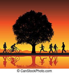 Außenaktivität mit Baum