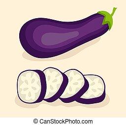 Aubergine, Gemüse isoliert. Vector Illustration: 10