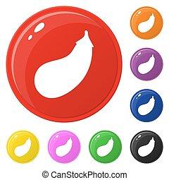Auberginen-Icons setzen 8 Farben auf weiß isoliert. Sammlung von glänzenden runden bunten Knöpfen. Vector Illustration für jedes Design.
