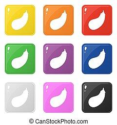Auberginen Icons setzen 9 Farben auf weiß isoliert. Sammlung von glänzenden Quadratfarben Knöpfen. Vector Illustration für jedes Design.