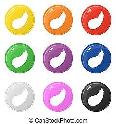 Auberginen Icons setzen 9 Farben auf weiß isoliert. Sammlung von glänzenden runden bunten Knöpfen. Vector Illustration für jedes Design.