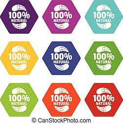 Auberginen-Icons setzen 9 Vektor.