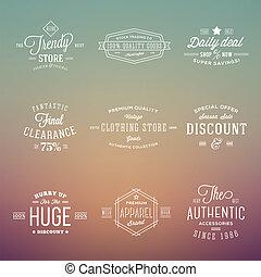 Auf abstrakten Hipster-Hintergrund setzen Retro-typografische Etiketten.