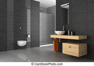 Auf der Toilette mit Holzmöbeln