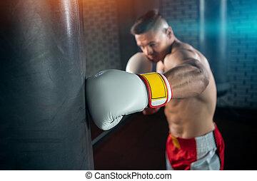 auf, lochung, mann, turnhalle, muskulös, training, boxer, schließen, tasche