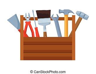 aufbau- satz, werkzeuge, werkzeugkasten