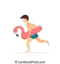 aufblasbar, glücklich, junge, flamingo