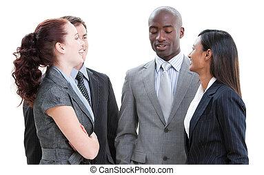aufeinanderwirken, geschäft mannschaft, positiv, verschieden
