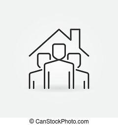 aufenthalt, leute, unter, vektor, zeichen, icon., grobdarstellung, daheim, dach