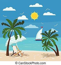 aufenthaltsraum, sonne, schirm, bequem, chaise, seascape.