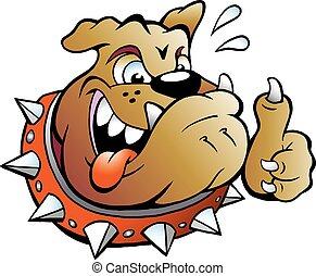 Aufgeregter Bullenhund, der den Daumen nachgibt.