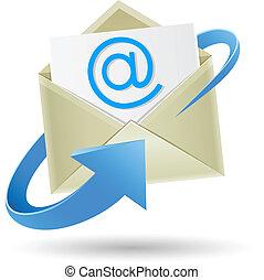 aufgewickelt, e-mail, pfeil