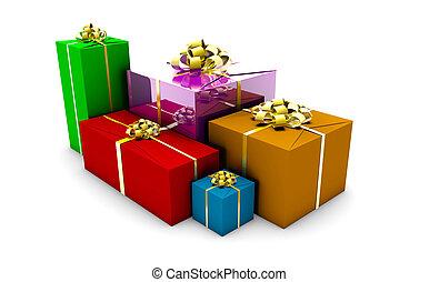 aufgewickelt, kästen, geschenk