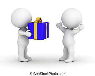 aufgewickelt, mann, geschenk, 3d, geben