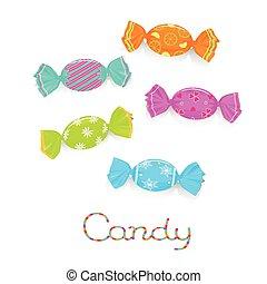 aufgewickelt, süßigkeiten, gefärbt