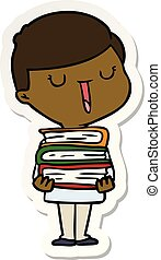 Aufkleber eines Cartoon-Happy-Boys mit Büchern.
