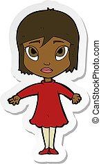 Aufkleber eines Zeichentrick-Mädchens in Kleidern.