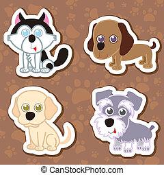 aufkleber, hund, set., karikatur