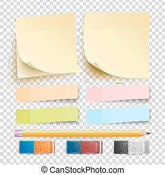 Aufkleber. Isoliertes Set. Eraser und Bleistift. Gut für Werbung. Regenbogen-Memorypads. Realistische Illustration